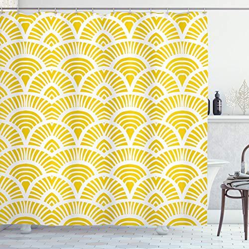 ABAKUHAUS Gelb Duschvorhang, Vintage Japanische Scales, Hochwertig mit 12 Haken Set Pflegeleicht Farbfest Wasser Bakterie Resistent, 175 x 200 cm, Gelb Weiß