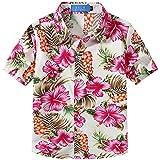 SSLR Camisa Hawaiana Colorida de Manga Corta de Flores de Verano para Niño (Medium, Rosa)
