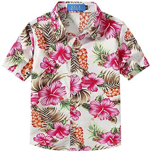 SSLR Camisa Hawaiana Colorida de Manga Corta de Flores de Ve