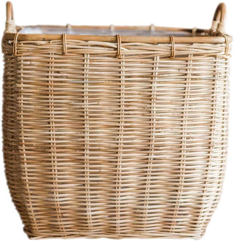 ZDNALS Natural Rattan Square Storage Basket Handle Debris Basket Cloakroom Hamper Flower Storage Basket (Size   40×37CM)