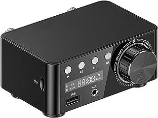 Bluetooth 5.0 Mini パワーアンプ 初心者 デジタルアンプ 5種の入力 超軽量 50W×2 大出力 D種類 音楽プレーヤー HI-FIオーディオアンプ 超小型 ステレオ DC9V-24V電源入力 LED液晶 ホーム 車 RCA ...