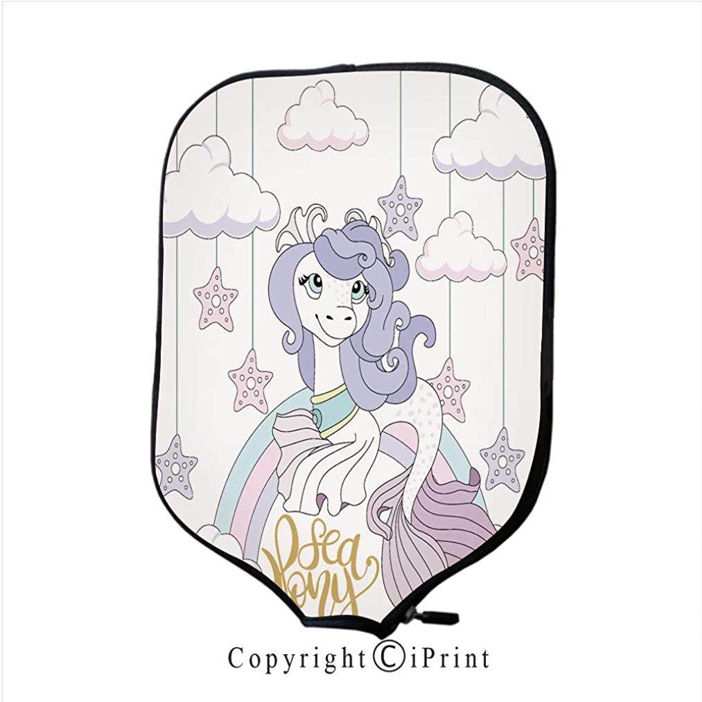 Lightweight Neoprene Single Pickleball Paddle Cover,Cute Pony on a Beautiful Background Carousel Vector Ill(Size:8.23