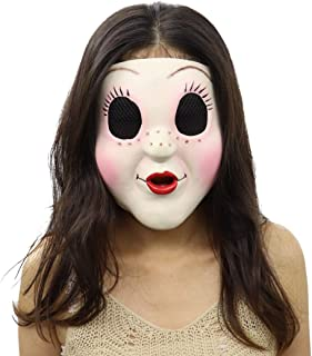 Cafele The Strangers Dollface Mask Latex Trick Face Mask for Halloween Cosplay White