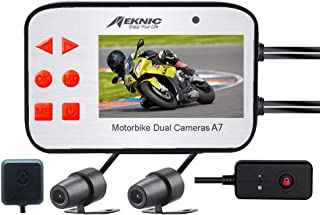 "MEKNIC Motorcycle Camera, Dual Lens 1080P Motorcycle Dash Cam, Front and Rear with 2.7"" LCD Screen and GPS, Waterproof Motorcycle Camera System,Motorcycle Dash Camera with Good Night Vision"