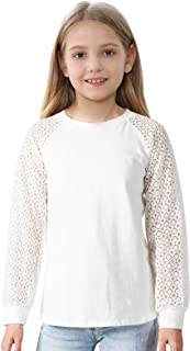 Girls Long Sleeve Shirts Blouse Crewneck T-Shirt Solid Color Loose Soft Lace Casual Tunic Tee Tops