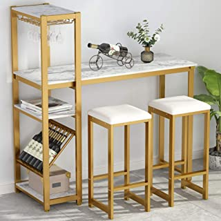 Tribesigns 3-Piece Pub Table Set with Faux Marble Top and 2 Padded Stools, Counter Height Bar Dining Table with Wine Rack and Glass Hanger for Living Room, Dining Room, Kitchen, Gold Metal Frame