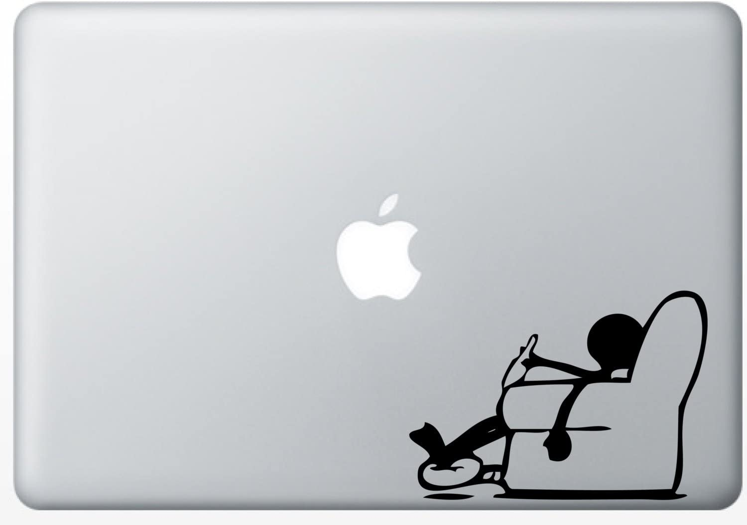 Stickman Lazy Slouched on Couch Drinking Relax Humor Silhouette Macbook Symbol Keypad Iphone Apple Ipad Decal Skin Sticker Laptop