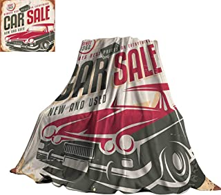 YOFUHOME 1960S Decor Blanket Sheets Nostalgic Car Sale Sign New and Used Auto Advertising American Style Urban Life Print 60