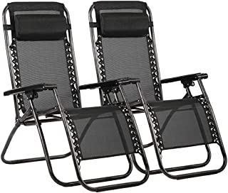 Zero Gravity Chair Patio Lounge Recliners Adjustable Folding Set of 2 for Pool Side..