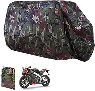 Funda para Moto Cubierta de Moto Protector Poliéster Impermeable Reflectante Motocicleta Anti-Polvo Lluvia Nieve UV Agua Aire Libre con el Bolso del Almacenaje Talla XL Cubierta para Moto Motocicleta 265 cm Estilo Camuflaje