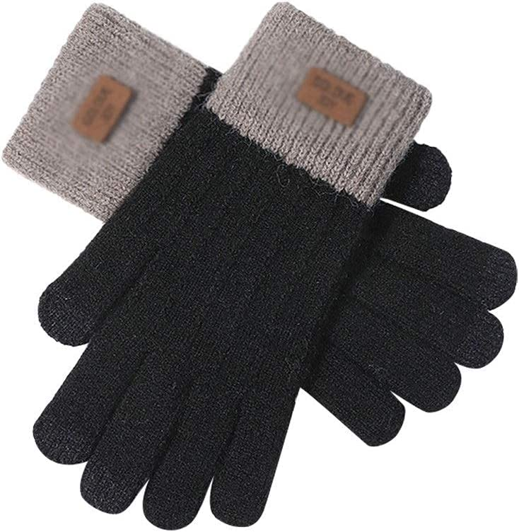GHCXY Gloves,Women Cute Play Mobile Phone Warm Soft Cotton Winter Knit Touch Screen Warm Plus Fluff Touch Screen C,D