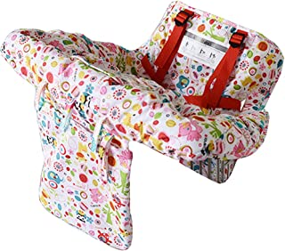 2-in-1 Shopping Cart Cover High Chair Cover, High Chair Cushion, Baby Grocery Cart Cover, Infant High Chair Cover, Safety Harness, Cart Cover, Toddler, Universal Size, Essentials Pocket by Zerich#7888