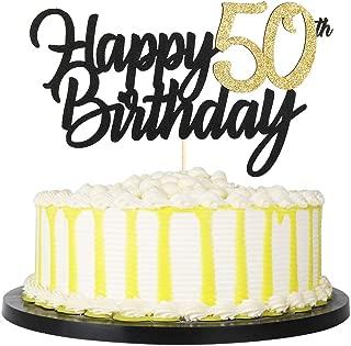 PALASASA Black Gold Glitter Happy Birthday cake topper - 50 Anniversary/Birthday Cake Topper Party Decoration (50th)