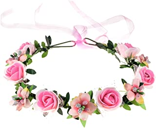 June Bloomy Rose Floral Crown Wreath Girls Flower Headband Boho Garland Halo Headpiece