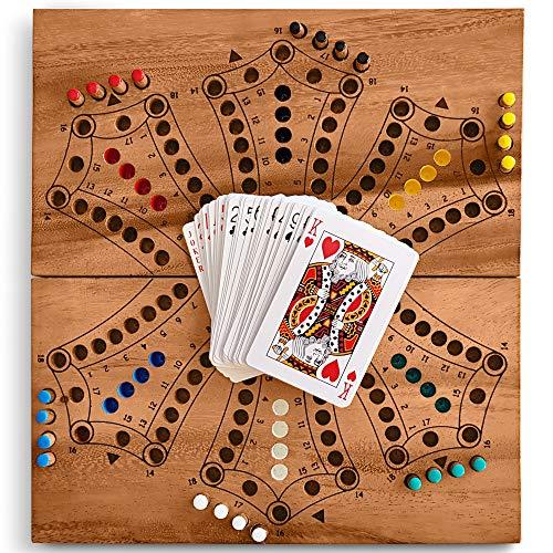 KHAPLO ® - Toc Spiel - Tock für 2, 3, 4 oder 6 Spieler - Dog spiel - Brettspiele für Erwachsene und Kinder - Spielesammlung - spielkarten
