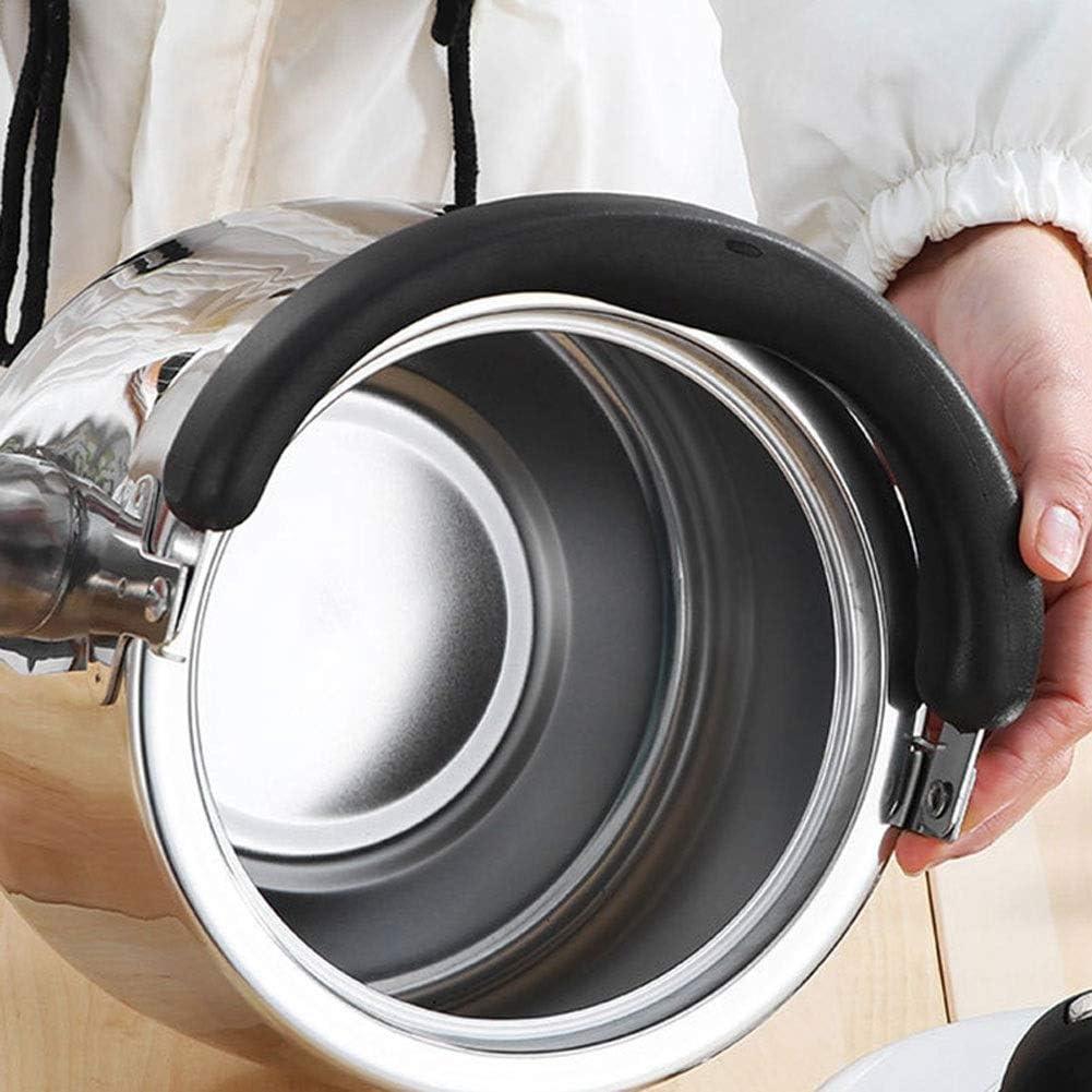 Waterkoker, theeketel, fluitende theepot-ergonomische hittebestendige handgreep en roestvrijstalen gepolijste theepot grote capaciteit (kleur: zilver, maat: Silver