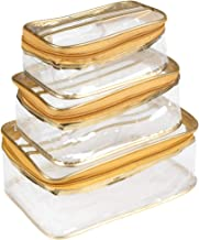 PrettyKrafts Vanity Box - Transparent Multipurpose Makeup Cosmetics Bag - Golden Rectangular Plain Organizer - Set of 3