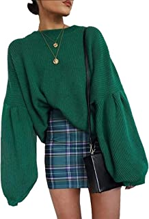 PRETTYGARDEN Women's Loose Drop Shoulder Lantern Sleeve Round Neck Fashion Pullover Sweater Tops