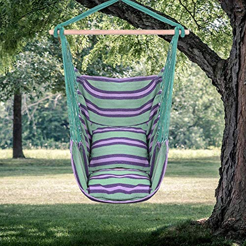 LEEKOUS Comfortable Hanging Rope Hammock Chair Swing Seat for Yard, Cotton Canvas Hanging Chairs, Porch Chair with 2 Soft Pillows for Bedrooms, Any Indoor Or Outdoor Spaces (Green)