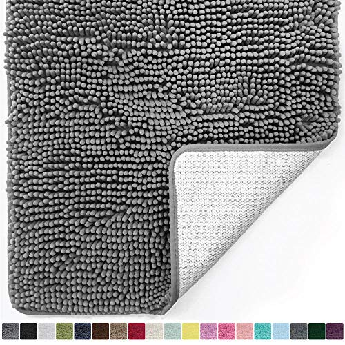 Gorilla Grip Original Luxury Chenille Bathroom Rug Mat, 44x26, Extra Soft and Absorbent Large Shaggy Rugs, Machine Wash Dry, Perfect Plush Carpet Mats for Tub, Shower, and Bath Room, Gray