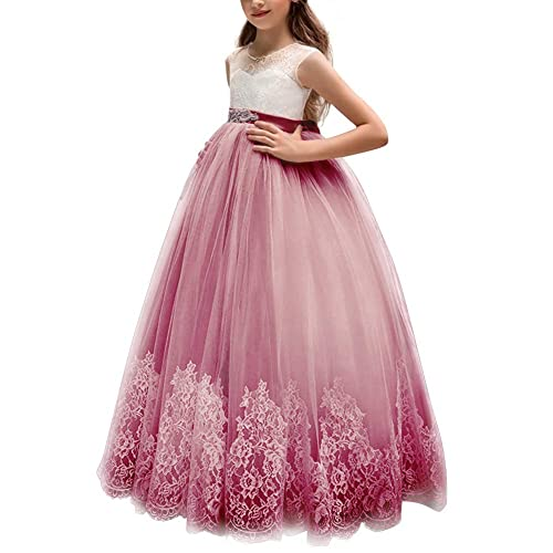 2a603dc1d73d OBEEII Girls Dress Sleeveless Floral Lace Ball Gown for Pageant Communion  Ceremony Wedding Prom Party for