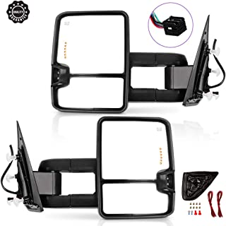 FINDAUTO Rear View Tow Mirrors Compatible with 2014-2017 Chevy 1500 GMC Sierra 1500 Chevy Silverado//GMC Sierra 2500 HD 3500 Towing Mirrors Left Right Side Power Heated with Turn Signal Light