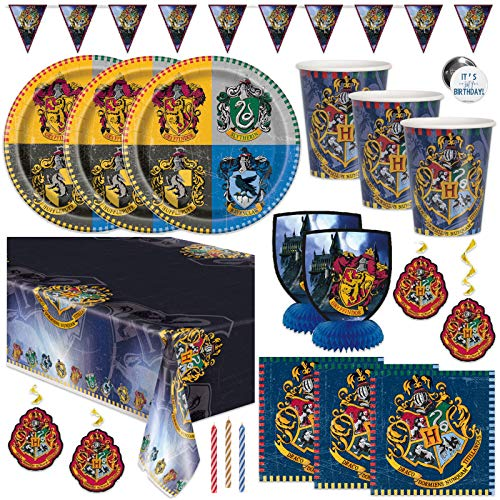 Harry Potter Themed Birthday Party Supplies Set - Serves 16 - Banner Decoration, Centerpieces, Table Cover, Plates, Cups, Napkins, Candles, Button