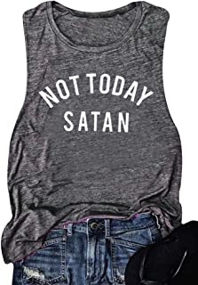 Women Not Today Satan Tank Funny Graphic Sleeveless Casual Tshirt Top Vest