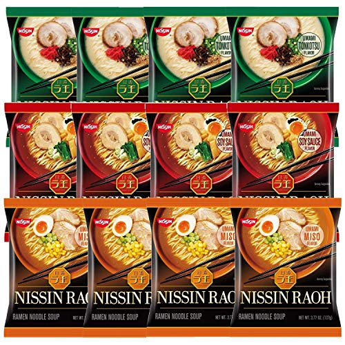 Nissin RAOH Ramen Variety Packs Noodle Soup, Tonkotsu, Soy Sauce, and Miso, Forks Included (Pack of...