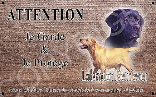 Pets-Easy.com Panneau Attention au Chien personnalisée Labrador Noir - pré perforée et vis livrées. De 30 cm à 15 cm…