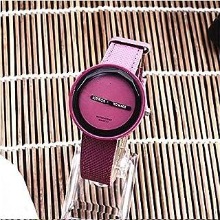 Smart Watch Simple Style Round Dial Matte Leather Strap Quartz Watch for Men/Women(Black) (Color : Purple)