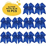 Large Glitter Cheer Bows Ponytail Holder Girls Royal Blue Elastic Hair Ties 7' Big Hair Bows Classic Accessories for Teens Women Cheerleader Girls Pack of 10