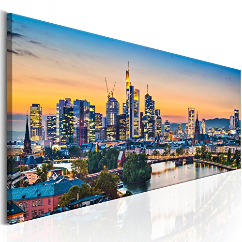 murando - Bilder Frankfurt 135x45 cm Vlies Leinwandbild 1 TLG Kunstdruck modern Wandbilder XXL Wanddekoration Design Wand Bild - Stadt Frankfurt Panorama d-B-0164-b-a