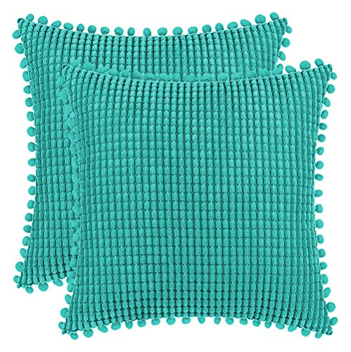 DEZENE 40x40cm Fundas de Almohada Decorativas con Pompones - Turquesa Cuadrado Paquete de 2 Fundas de Cojín de Granos de Maíz Grande a Rayas de Pana para Sofá de Granja