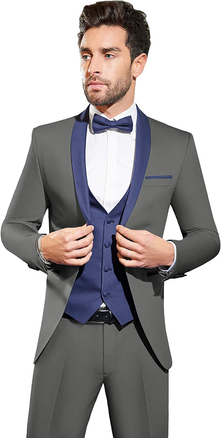 Sxfashbrd Mens Suit Slim Fit 3 Piece Blazer Jacket Tuxedo Groomsmen Suits for Wedding Party Daily Formal Business Coats