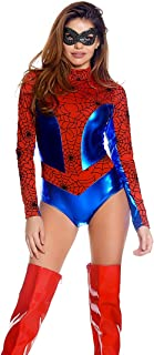 Women's Metallic Mock Neck Bodysuit with Spiderweb Print Contrast