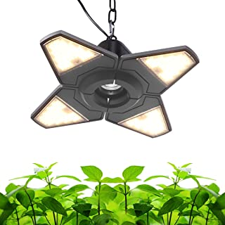Byingo LED Grow Light - 100W (600W Equivalent) Full Spectrum Integrated Lamp - 4 Foldable Leaves with 90 ° Adjustable Angle Wide Illumination - Plug and Play & Efficient Heat Dissipation for Plants