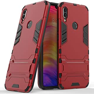 Case for Xiaomi Redmi Note 7 (6.3 inch) 2 in 1 Shockproof with Kickstand Feature Hybrid Dual Layer Armor Defender Protective Cover (Red)