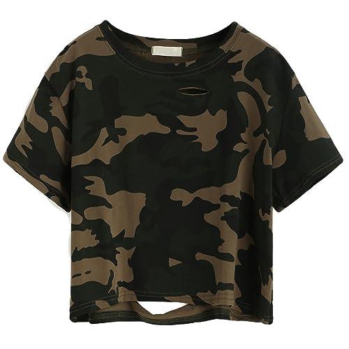 8c0f28c8 SweatyRocks Tshirt Camo Print Distressed Crop T-Shirt