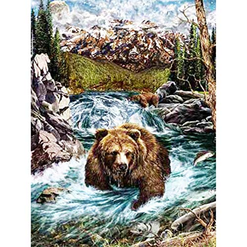 5d Diamond Painting Kits for Adults Kids Full Round Drill Diamond for Home Wall Decor Bear Swimming 11.8x15.7 in by Bemaystar