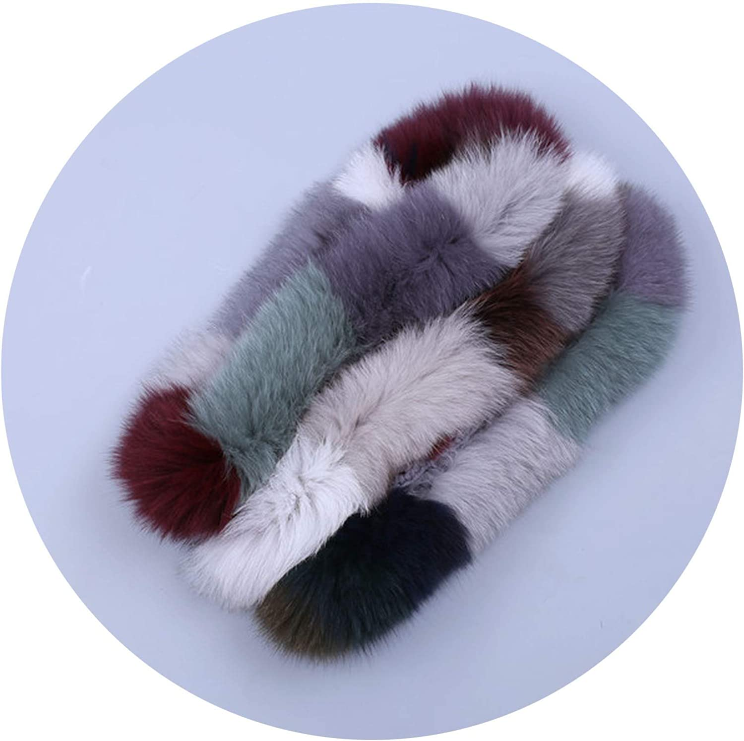 Brand New Genuine Real Fox Fur Women's Lady Fur Scarf Scarves Ring Cowl Snood Cirle Infinity Scarf Wraps Shawl Multicolour,Multicolor in random