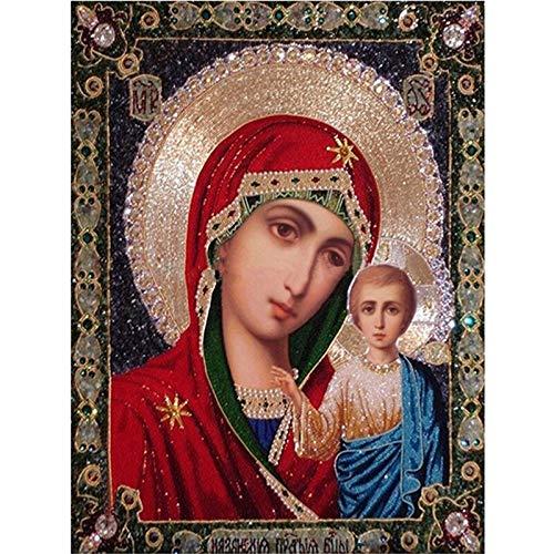Pintura Del Diamante 5D,Virgen María Diamante Bordado Diy Diamante Pintura Mosaico Diamand Pintura 3D Punto De Cruz Cuadros H853 75X55Cm