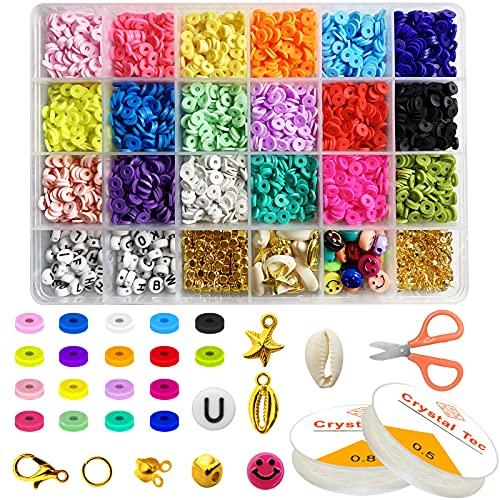 INMUA Set di Perline Fai da Te per Bambini Adulti, Perline Colorate per Braccialetti, Collane, Bigiotteria, 6mm Perline di Argilla Polimerica per Gioielli Kit di Creazione Fai-da-Te (18 Colori)