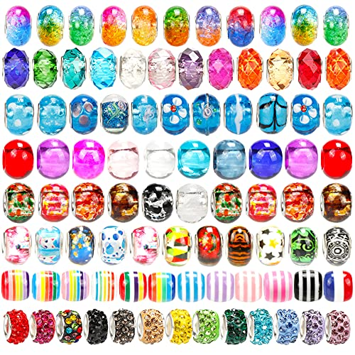 120 Pieces Large Hole European Beads Spacer Beads Rhinestone Craft Beads for DIY Charms Bracelet Jewelry Making
