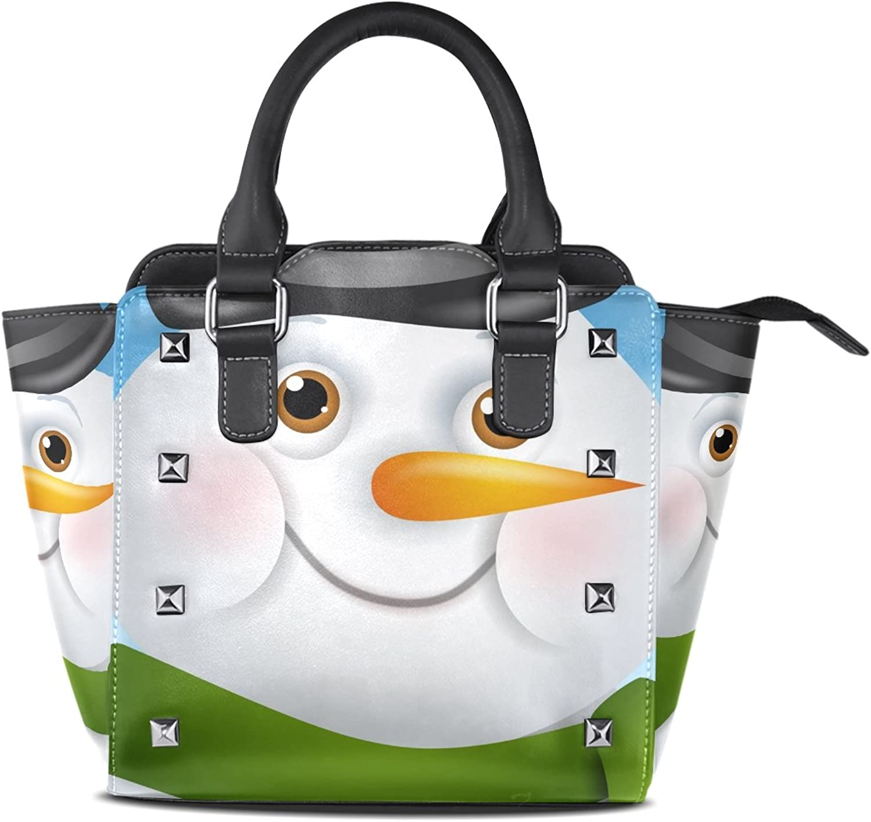 My Little Nest Women's Top Handle Satchel Handbag Christmas Smile Snowman Ladies PU Leather Shoulder Bag Crossbody Bag
