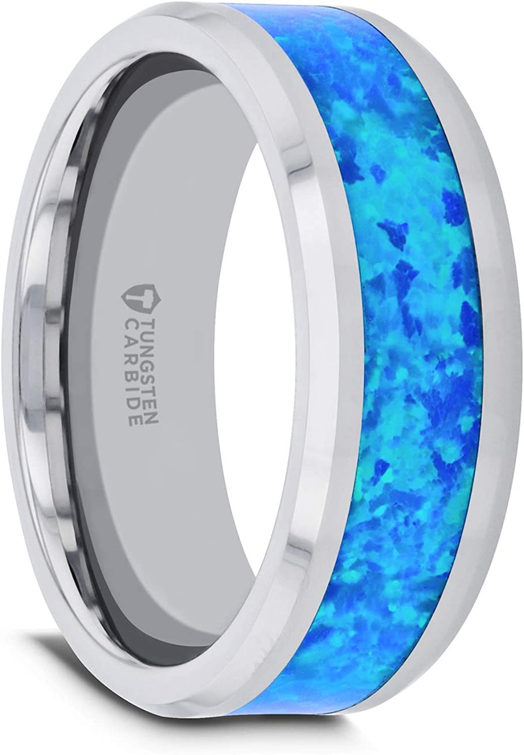Thorsten Quasar | Tungsten Rings for Men | Tungsten | Comfort Fit | Custom Engraving | Wedding Ring Band with Blue Green Opal Inlay - 8mm
