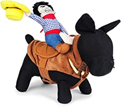LUCKSTAR Funny Pet Costume - Novelty Pet Supplies Cowboy Rider Horse Riding Designed with Money Purse Outfit Apparel Dress Up Decoration Prop Toy for Cat Dog Puppy