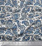 Soimoi Blau Baumwoll-Popeline Stoff Paisley & Blumen
