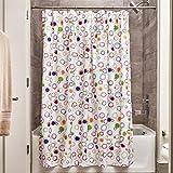 iDesign Doodle Duschvorhang | Vorhang für Badewanne & Dusche in 183,0 cm x 183,0 cm | Bad Duschvorhang mit grafischem Muster| Polyester bunt