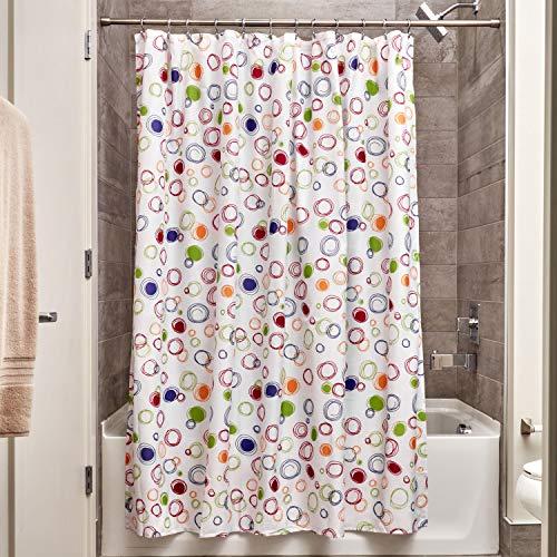 InterDesign Doodle Cortina de ducha | Cortinas estampadas para bañera o plato de ducha | 183 x 183 cm | Alegre cortina de baño con círculos de colores | Poliéster de colores